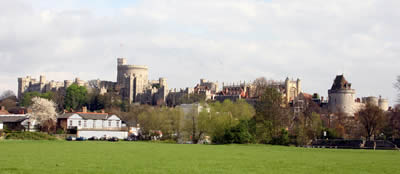 Windsor Castle viewed from the Thames river